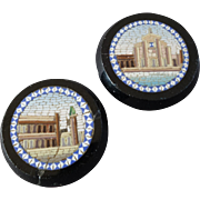 """A Pair of Antique Victorian Micro Mosaic Lapel Stud Buttons 7/8"""" Buildings"""