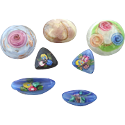 "Six Colourful Art Deco Czech Lampworked Glass Buttons (plus 1 newer) 3/8"" to 11/16"""