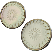 """A Pair of Large Antique Carved Mother of Pearl Metal Lapel Stud Buttons 1 5/16"""""""