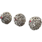 Three Antique Silver Plated Filigree Metal Red Paste Ball Buttons 19th Century 11/16""