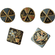 """Five Antique Victorian Painted Japanned Brass Tole Buttons 3/8"""" to 3/4"""" Bird Flowers Triangle"""