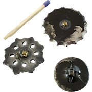 """Three Antique Victorian Platinum Plated Black Glass Buttons - up to 1 1/4"""""""