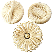 """Three Large French Couture Raffia Gilt Metal Buttons 1 9/16"""" and 1 3/4"""""""
