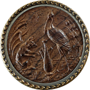 Large Antique Victorian Pressed Wood Metal Picture Button Aesop's Fables Fox and Stork 1 5/8""