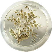 """Antique Victorian Mother of Pearl Button Delicate Flower Carving 15/16"""""""