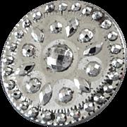 "Large Antique Georgian Cut Steel Button 1 5/16"""