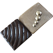 1930s Art Deco Casein Galalith Chromed Metal Buckle on Original Card