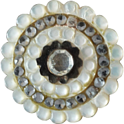 """Antique Georgian Carved Mother of Pearl Steel Paste Button 1"""""""