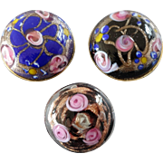 """Three Vintage Lampworked Murano Glass Metal Buttons Roses Mica 1"""""""