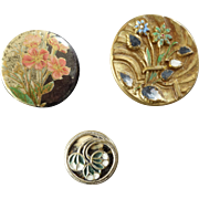 Three Antique Victorian Lacquered Metal Celluloid Tight Top Inlay Buttons - up to 1 1/16""