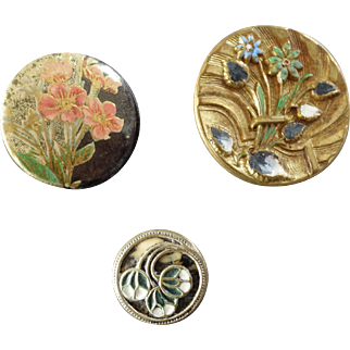 """Three Antique Victorian Lacquered Metal Celluloid Tight Top Inlay Buttons - up to 1 1/16"""""""