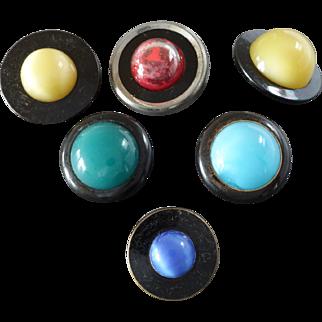 "Six Antique DUG Design under Glass Satin Glass Buttons 7/8"" to 1 1/4"""