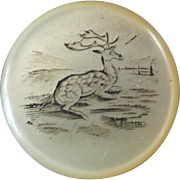 Large Antique Victorian Etched Mother of Pearl Hunt Sporting Button Deer 1 1/4""