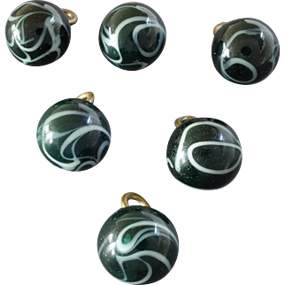 """Six Antique Lampworked Men's Vest Glass Buttons White Swirls on Green 7/16"""""""