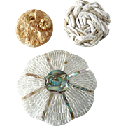Three French Couture Resin Mother of Pearl Cord Buttons 1 9/16""