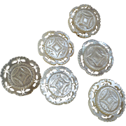 Set of 6 Antique Victorian Carved Openwork Mother of Pearl Buttons 7/8""