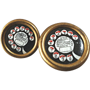"Two Vintage Telephone Rotary Dial Realistic Buttons Mother Daughter 7/8"" and 11/16"""