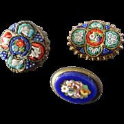 "Three Italian Micro Mosaic Buttons 1/2"" - 5/8"""