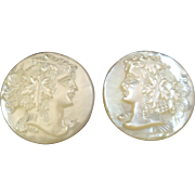 A Pair of Antique Victorian Carved Mother of Pearl Lapel Stud Buttons Wine Goddess Dionysos Bacchus Ariadne 7/8""
