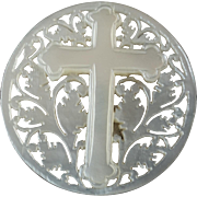 """Large Carved Openwork Mother of Pearl Bethlehem Holy Land Jordan Pearl Button Cross 1 5/16"""""""