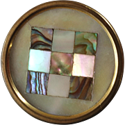 """TWW Paris Antique Victorian Inlaid Mother of Pearl Metal Button 7/8"""""""