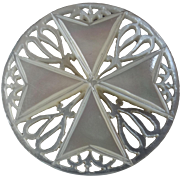 """Large Carved Openwork Mother of Pearl Bethlehem Holy Land Jordan Pearl Button Maltese Cross Foliage 1 1/4"""""""