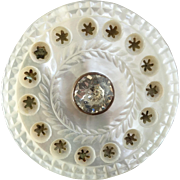 """Large Antique Georgian Carved Pierced Mother of Pearl Paste Button 1 3/8"""""""