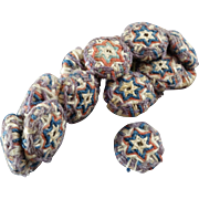 """18 Antique Handmade Passementerie Peasant (?) Buttons Blue Red White Stars 5/8"""""""