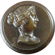 """Antique Victorian Pressed Horn Button Woman's Head in Profile 1 3/16"""""""