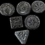 "Harvey - Six Antique Victorian Czech Black Glass Buttons Lacy Passementerie Designs Horseshoe Star Flowers 1 1/16"""