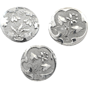 "Three Antique Czech Art Nouveau Platinized Black Glass Buttons 7/8"" and 1 1/16"""
