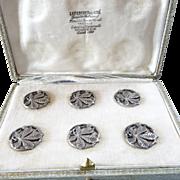 """Six Antique French Art Nouveau Silver Buttons Original Box Chestnut Leaves 1"""""""