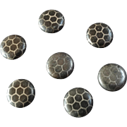 """Seven Small Antique Victorian Niello Tula Honeycomb Design Buttons 5/16"""" Great for Dolls and Bears"""