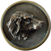 """Large Antique Victorian French Hunt Sporting Button three dimensional Dog's Head 1 3/8"""" Signed"""
