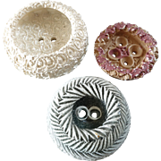 """Three Large Vintage French Couture Resin Plastic Buttons - up to 2"""""""