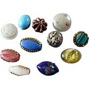 """11 Antique and Vintage Small Glass Metal Buttons 7/16"""" to 5/8"""""""