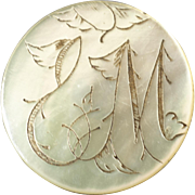 """Harvey - Antique Victorian Etched Mother of Pearl Initial Button 1 1/16"""""""