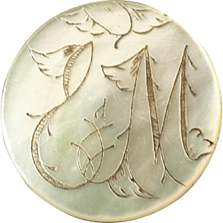 Harvey - Antique Victorian Etched Mother of Pearl Initial Button 1 1/16""