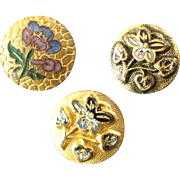 """Three Small Antique Victorian Enamel Metal Buttons Flowers 3/8"""""""