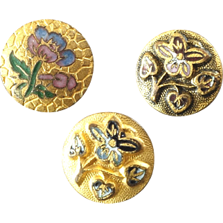 Three Small Antique Victorian Enamel Metal Buttons Flowers 3/8""
