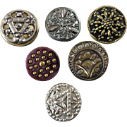 """Six Antique Victorian Metal Buttons Cut Steel Imitation - up to 1 1/16"""""""