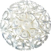 Carved Openwork Mother of Pearl Bethlehem Holy Land Jordan Pearl Button Rose 1 1/16""