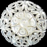 "Harvey - Carved Openwork Mother of Pearl Bethlehem Holy Land Jordan Pearl Button Rose 1 1/16"""
