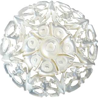 Harvey - Carved Openwork Mother of Pearl Bethlehem Holy Land Jordan Pearl Button Rose 1 1/16""