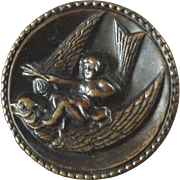 """Antique Victorian Metal Picture Button Cupid on Bird 1 1/16"""""""