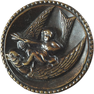 Antique Victorian Metal Picture Button Cupid on Bird 1 1/16""