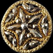 "Harvey / Irma - Antique Victorian Openwork Gilt Metal Cut Steel Button 1 1/8"""