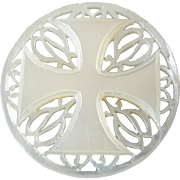 """Large Carved Openwork Mother of Pearl Bethlehem Holy Land Jordan Pearl Button Greek Cross Foliage 1 5/16"""""""