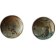 """Two Antique Victorian Tole Varnished Metal Buttons 11/16"""""""