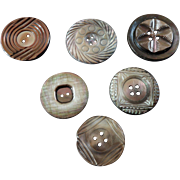 """Six Antique and Vintage Carved Engraved Mother of Pearl Buttons 15/16"""" to 1 3/16"""""""
